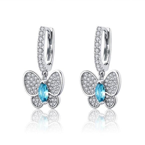 Cercei din argint Blue Butterfly
