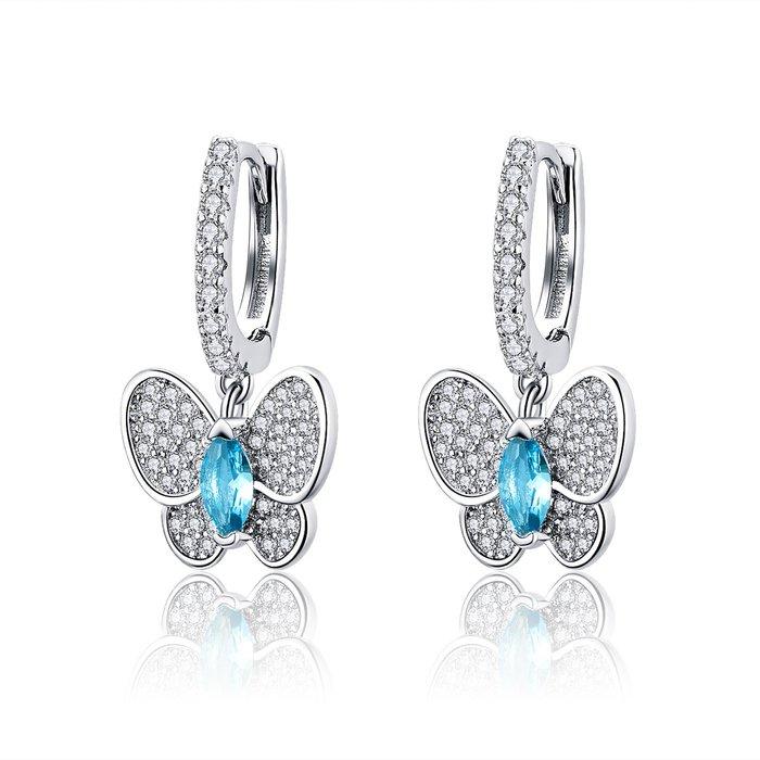 Cercei din argint Blue Butterfly poza 2021