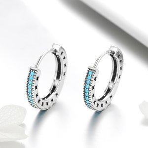 Cercei din argint Blue Circle Hoop