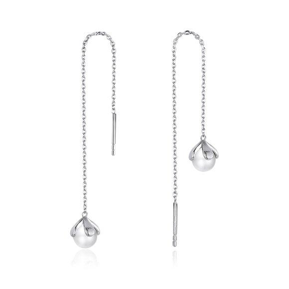 Cercei din argint Chain Pearl Drop