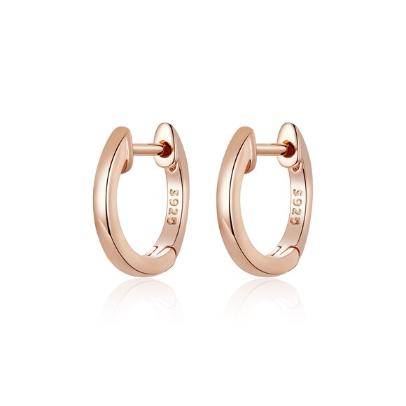 Cercei din argint Classic Small Hoops rose gold