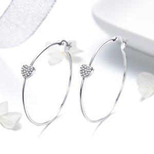 Cercei din argint Creole Hearts