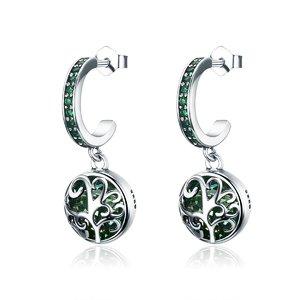 Cercei din argint cu Copacel si Sticla verde