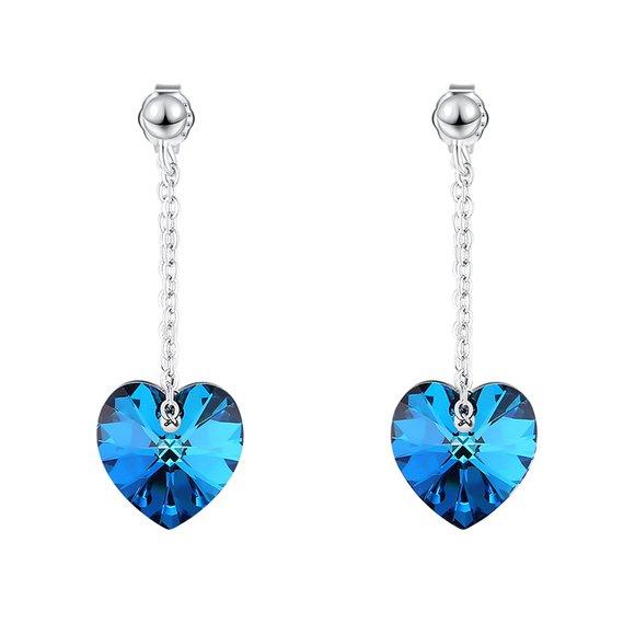 Cercei din argint cu cristale Swarovski Bermuda Crystal Hearts