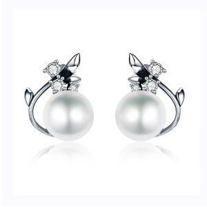 Cercei din argint cu Floare de Cristal si Perla