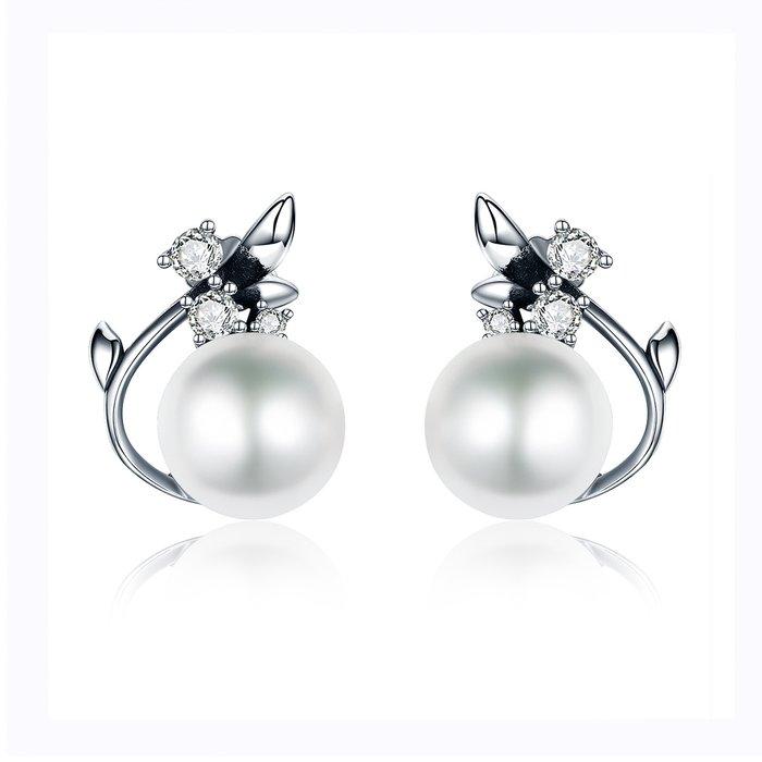 Cercei din argint cu Floare de Cristal si Perla poza 2021