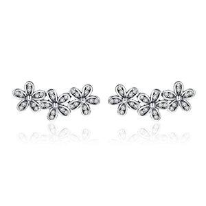 Cercei din argint cu Trei Floricele