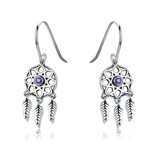 Cercei din argint Dream Catcher purple