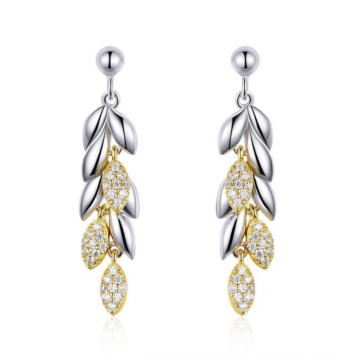 Cercei din argint Elegant Gold Feathers poza 2021