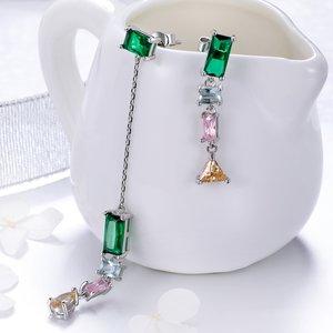 Cercei din argint Emerald Multi Drop