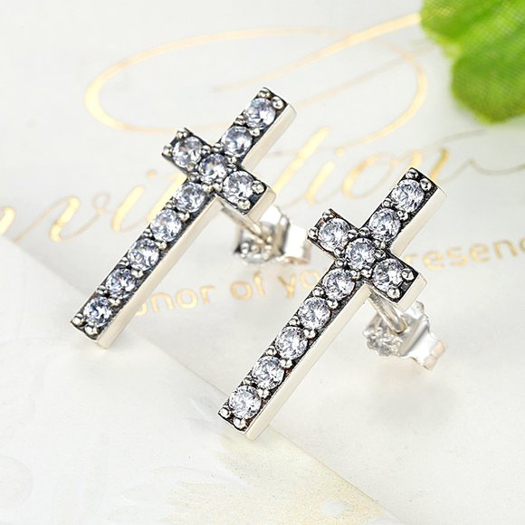 Cercei din argint Fashion Cross Studs