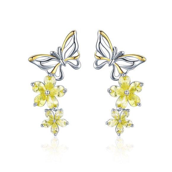 Cercei din argint Flowers and Butterflies