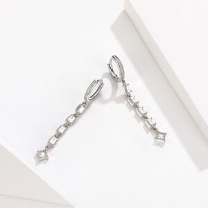 Cercei din argint Glamour Chain Hoops