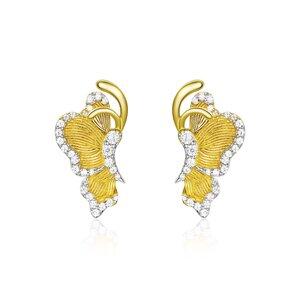 Cercei din argint Glamour Golden Butterfly