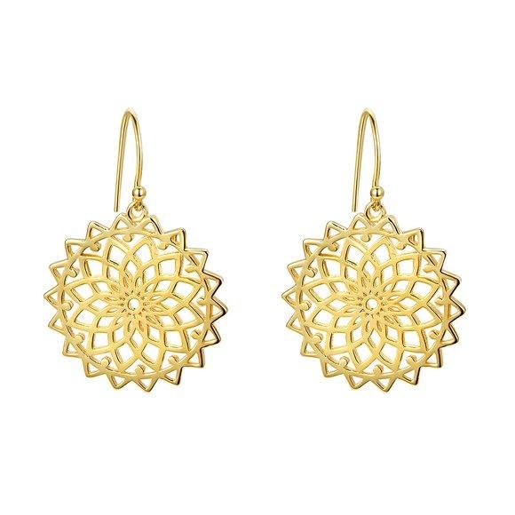 Cercei din argint Gold Flower