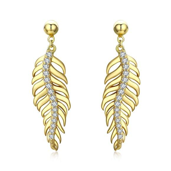 Cercei din argint Golden Feathers