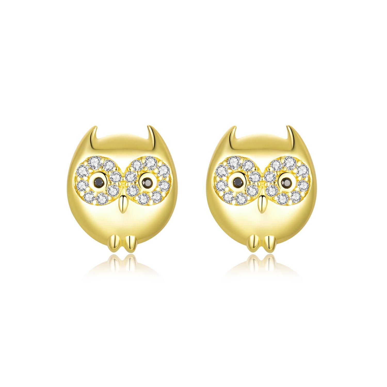 cercei din argint golden little owl 68226 4