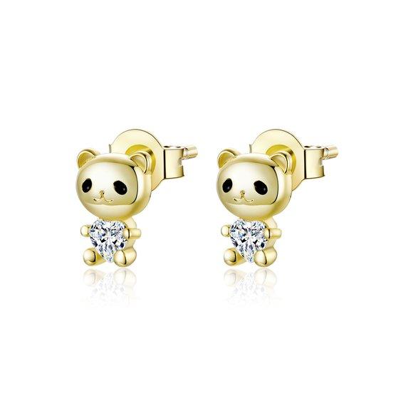 Cercei din argint Golden Tiny Bears
