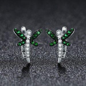Cercei din argint Green Dragonfly