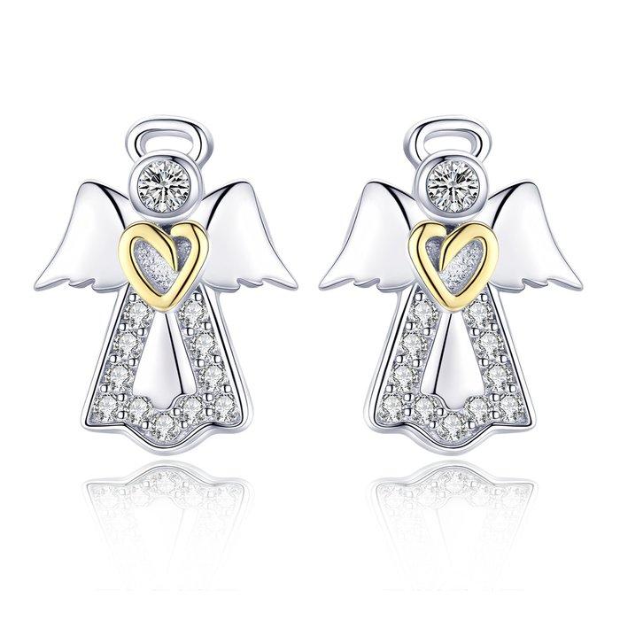 Cercei din argint Guardian Angel Heart poza 2021