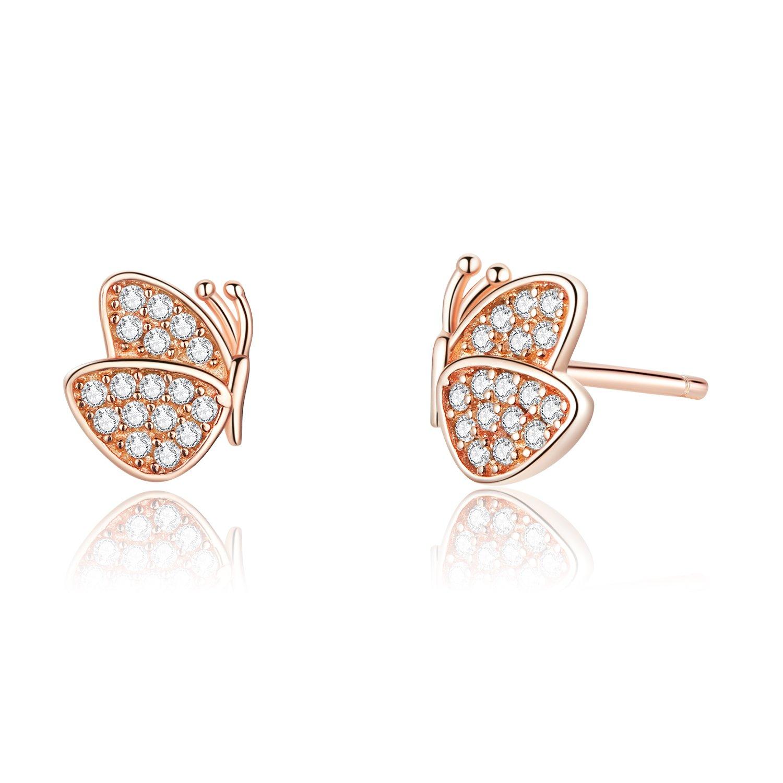 cercei din argint little butterflies rose gold 69405 4
