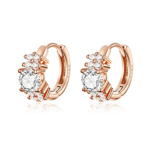 Cercei din argint Little Massive Crystals Rose Gold