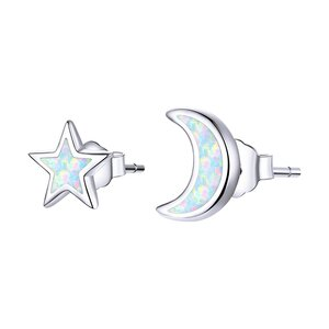 Cercei din argint Little Moon and Star Opal