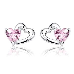Cercei din argint Little Pink Hearts
