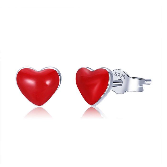 Cercei din argint Little Red Heart poza 2021