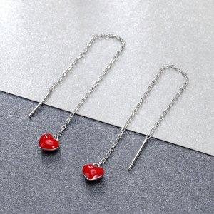 Cercei din argint Long Chain Hearts