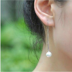 Cercei din argint Long Chic Pearls