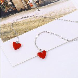 Cercei din argint Long Red Hearts