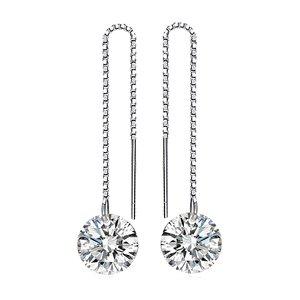 Cercei din argint Long Shiny Crystal