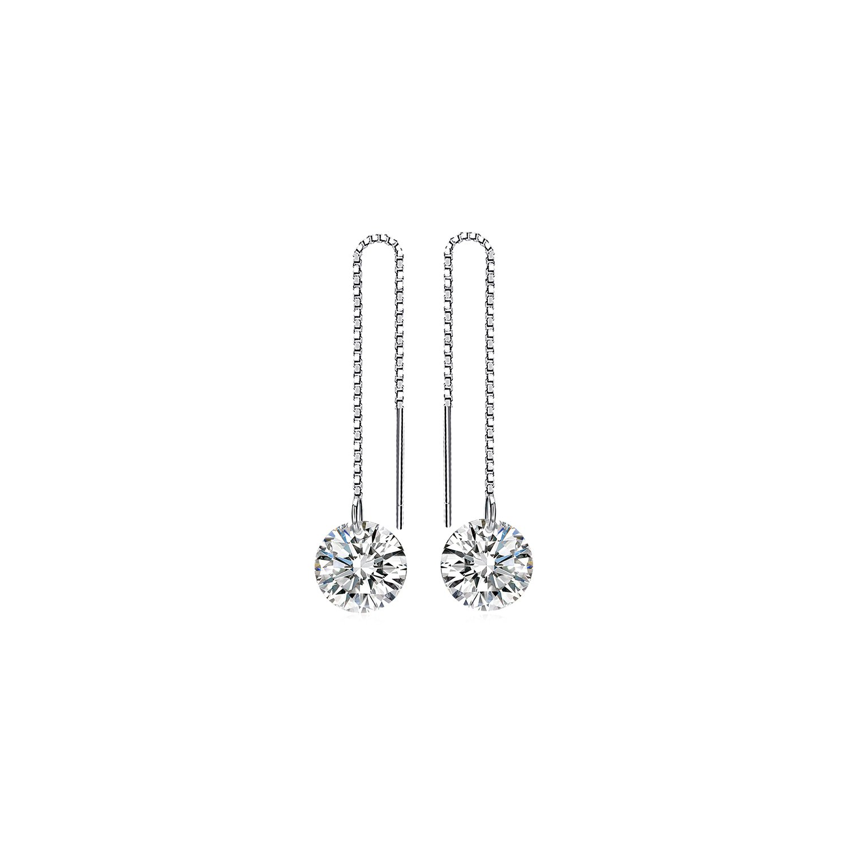 cercei din argint long shiny crystal 66201 4
