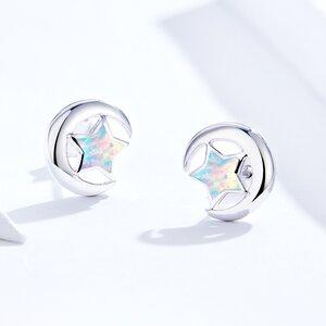 Cercei din argint Opal Moon and Stars silver