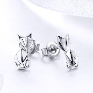 Cercei din argint Origami Fox