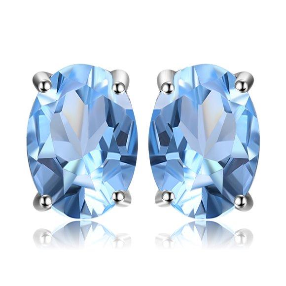 Cercei din argint Oval Blue Topaz