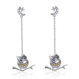 Cercei din argint Owl Chain Drop