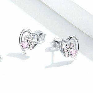 Cercei din argint Pink Crystal Paw