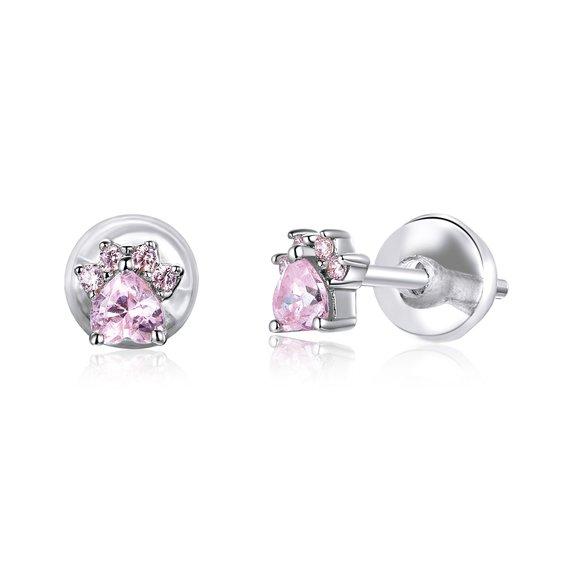 Cercei din argint Pink Little Paws