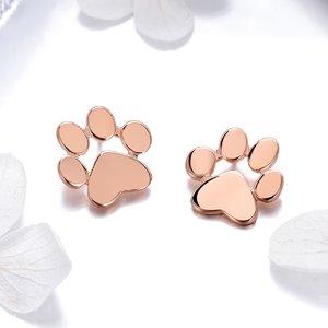 Cercei din argint Rose Gold Paws