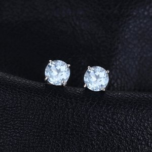 Cercei din argint Round Blue Topaz