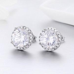 Cercei din argint Round Diamond Look