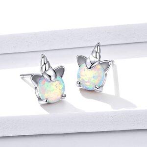 Cercei din argint Silver Opal Unicorns