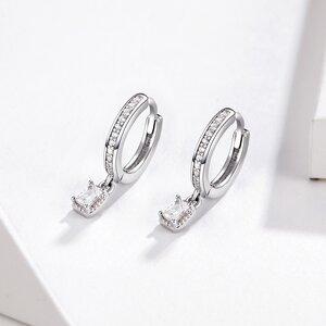 Cercei din argint Sparklin Square Hoops
