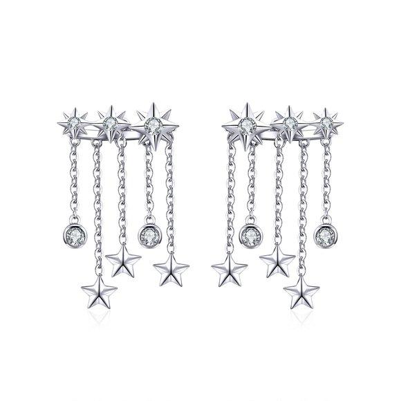 Cercei din argint Stars Cascade