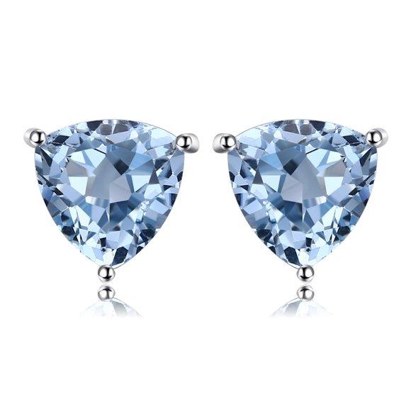 Cercei din argint Triangle Blue Topaz