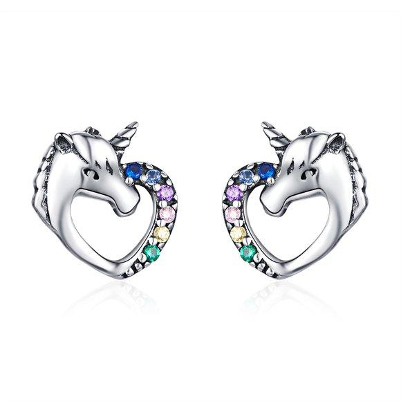Cercei din argint Unicorn's Heart
