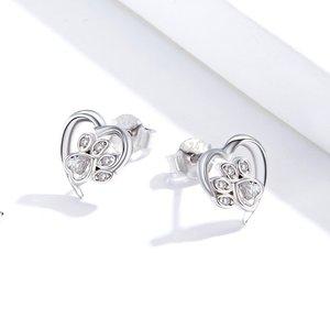 Cercei din argint White Crystal Pop