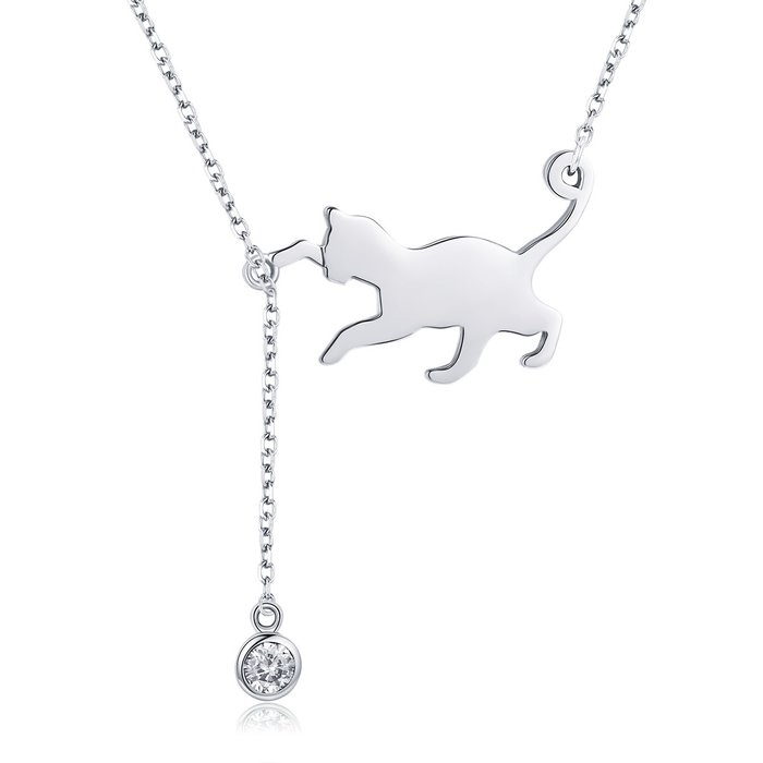Colier din argint 925 Playful Silver Cat poza 2021